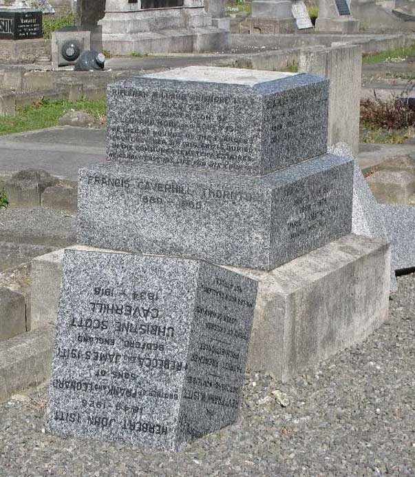 Family memorial to Willard Whitmore ISITT Showing damage caused by earthquake of 22 February 2011