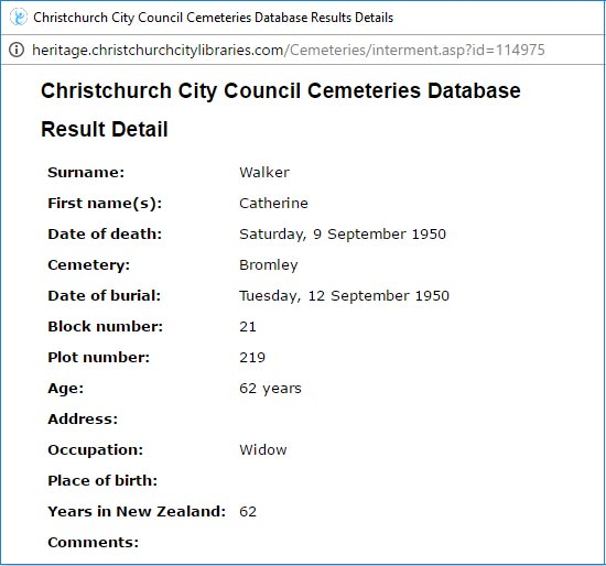 Cemetery Database Record