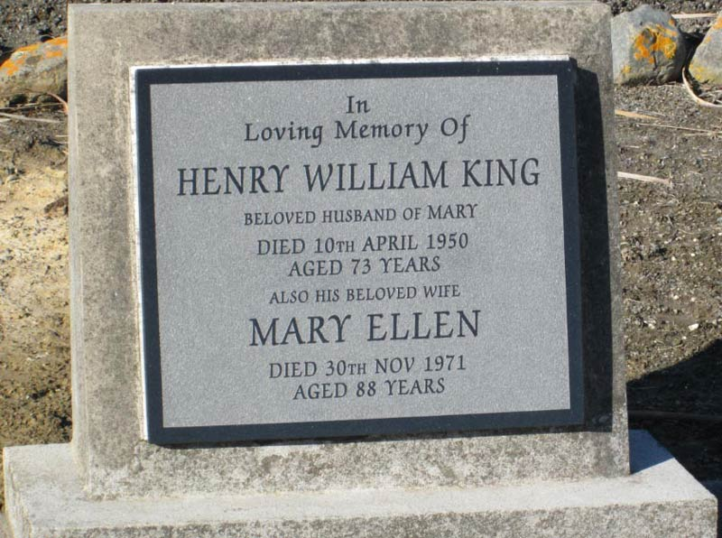Henry William and Mary Ellen King - headstone