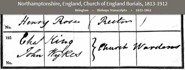 Excerpt from Church register