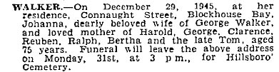 Death Notice - Auckland Star