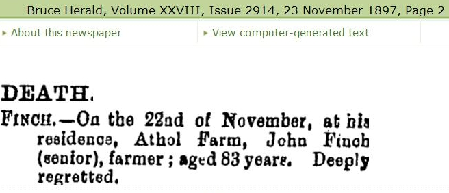 John Finch death notice