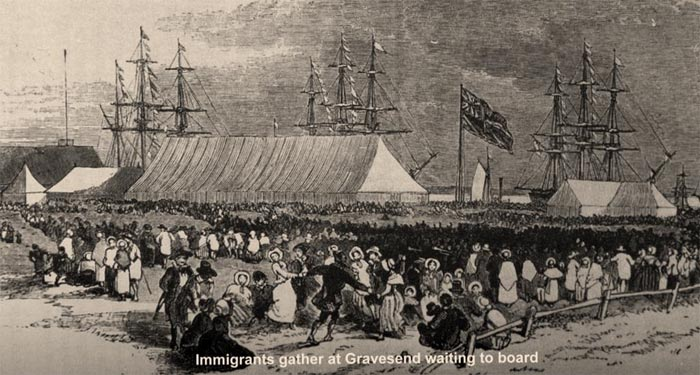Immigrants gather at Gravesend waiting to board