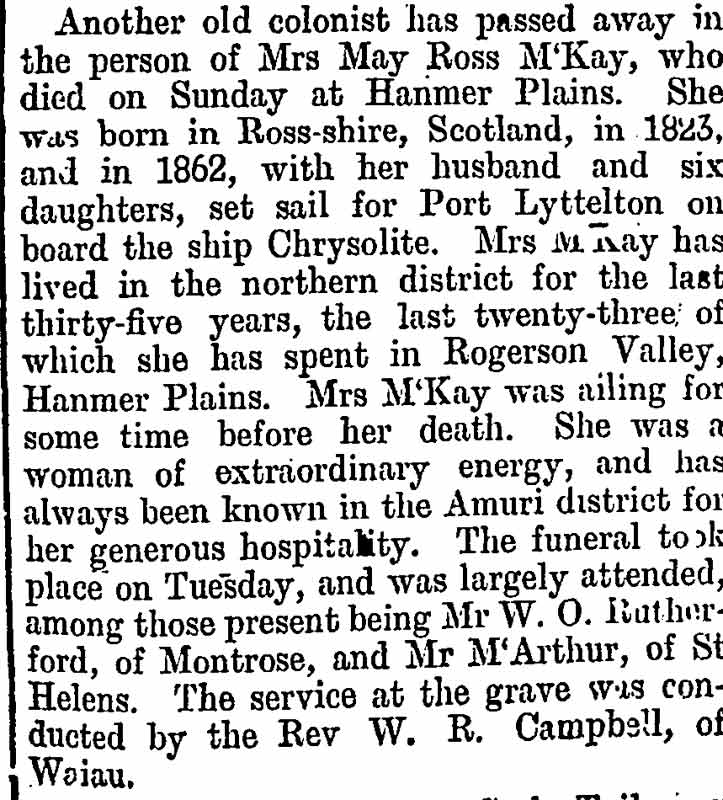 May Ross McKay - Death Notice