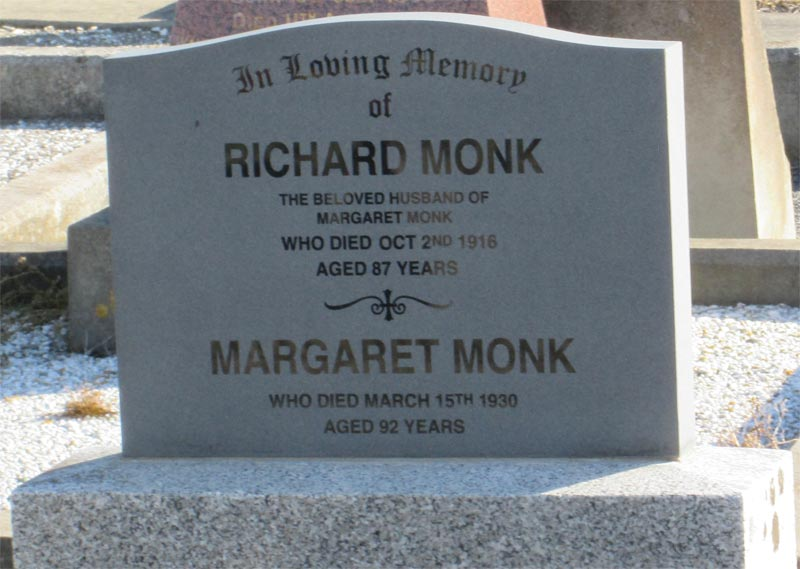 Richard and Margaret Monk - headstone